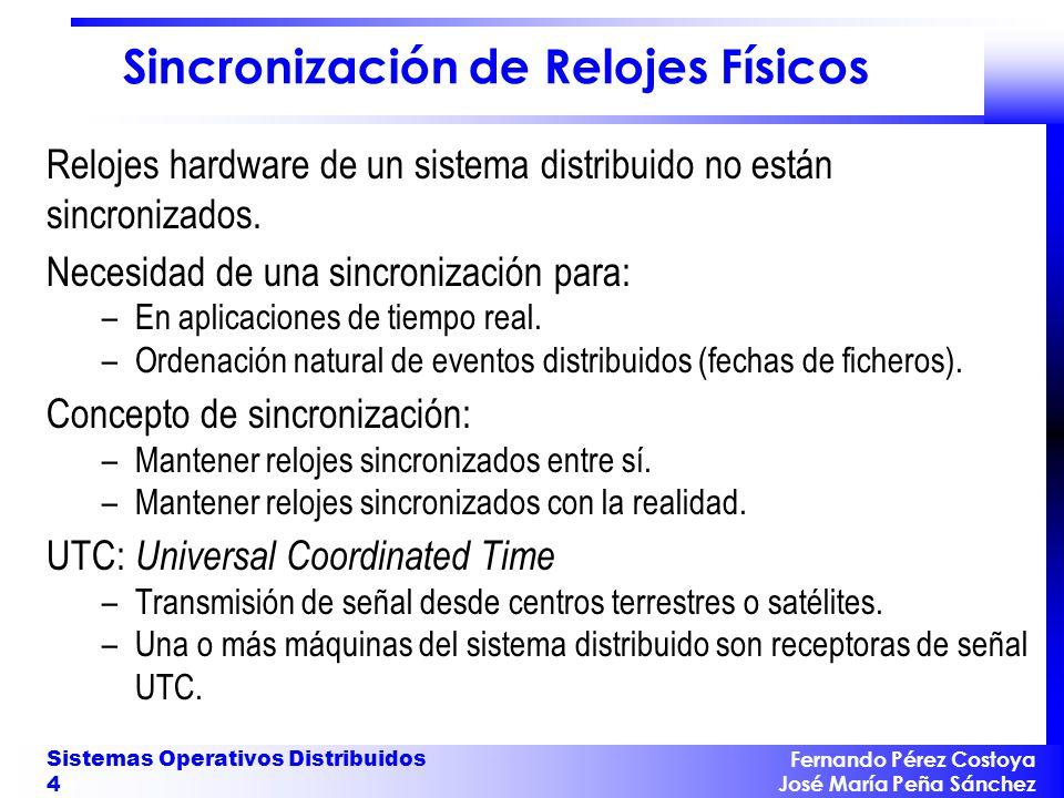 Fernando Pérez Costoya José María Peña Sánchez Sistemas Operativos Distribuidos 25 Ejemplo Mensajes: M ={1,2,3,...,10} Eventos: –e envia_petición(1,n) =(1,{},{},{n},c 1c ) –e envia_petición(2,n) =(2,{},{},{n},c 2c ) –e recibe_petición(i,n) =(cache,s {jobs=q},s {jobs=append(q,n)},{n},c ic ) –e envia_tarea(n) =(cache,s {jobs=q},s {jobs=head(q,n)},{n},c cd ) –e recibe_tarea(n) =(disk,{reading=no},{reading=n},{n},c cd ) –e envia_dato(n) =(disk,{reading=n},{reading=no},{n},c dc ) –e recibe_dato(n) =(cache, s {memory=M}, s {memory=M {n}},{n},c dc ) –e envia_respuesta(i,n) =(cache, s, s,{n},c ci ) –e recibe_respuesta(1,n) =(1, {}, {},{n},c c1 ) –e recibe_respuesta(2,n) =(2, {}, {},{n},c c2 )