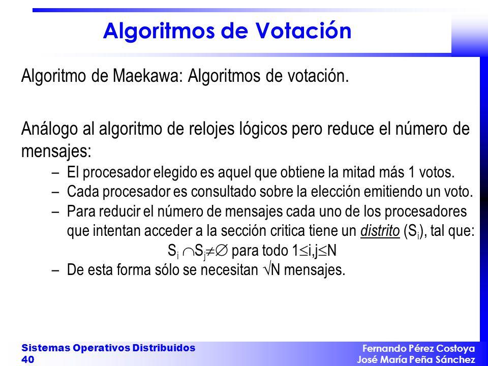 Fernando Pérez Costoya José María Peña Sánchez Sistemas Operativos Distribuidos 40 Algoritmos de Votación Algoritmo de Maekawa: Algoritmos de votación
