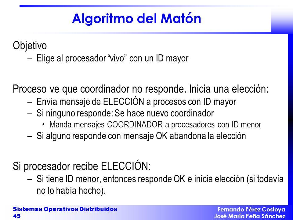 Fernando Pérez Costoya José María Peña Sánchez Sistemas Operativos Distribuidos 45 Algoritmo del Matón Objetivo –Elige al procesador vivo con un ID ma