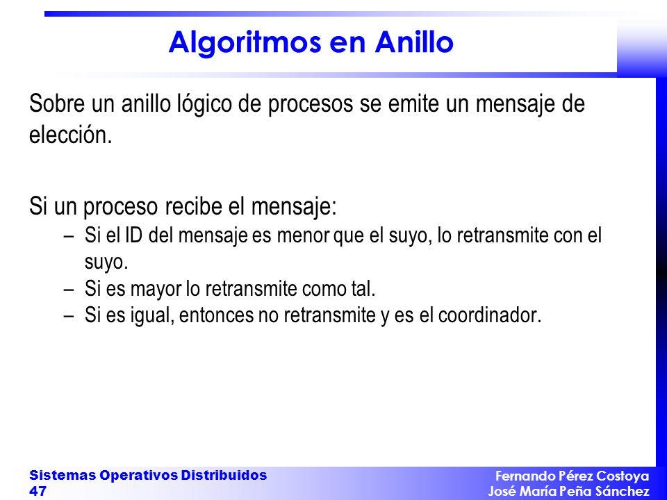 Fernando Pérez Costoya José María Peña Sánchez Sistemas Operativos Distribuidos 47 Algoritmos en Anillo Sobre un anillo lógico de procesos se emite un