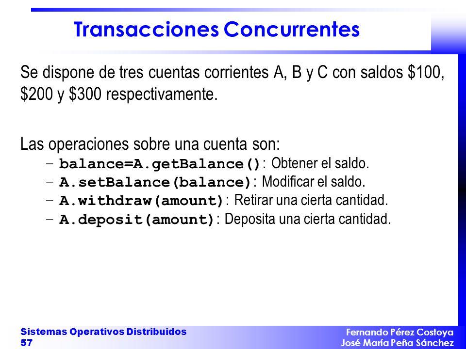 Fernando Pérez Costoya José María Peña Sánchez Sistemas Operativos Distribuidos 57 Transacciones Concurrentes Se dispone de tres cuentas corrientes A,