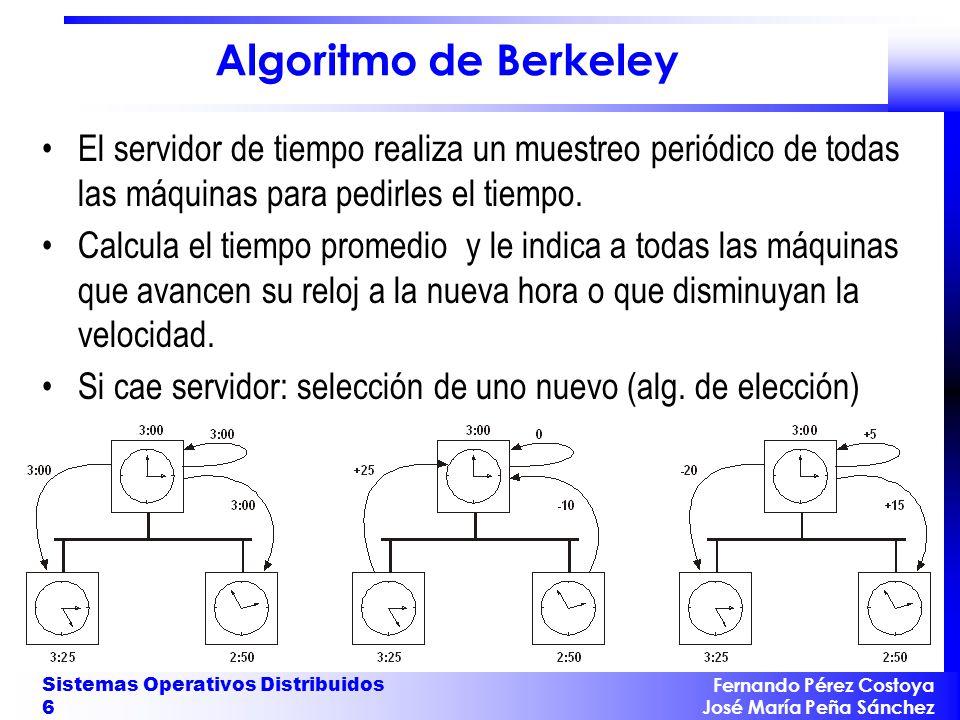 Fernando Pérez Costoya José María Peña Sánchez Sistemas Operativos Distribuidos 27 Ejemplo 1 2 cachedisk C cd C dc C c1 C 1c C 2c C c2 A {3} Instante 13: Estado: s=( p 1 {}, p 2 {}, p c {memory={2},jobs={7}}, p d ={reading=no} ) Canales: c cd ={3}