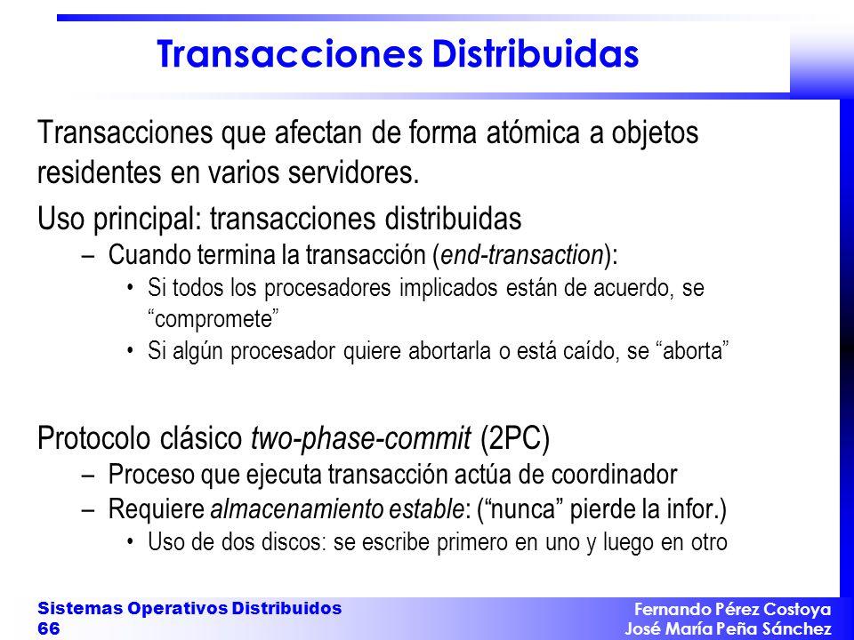 Fernando Pérez Costoya José María Peña Sánchez Sistemas Operativos Distribuidos 66 Transacciones Distribuidas Transacciones que afectan de forma atómi