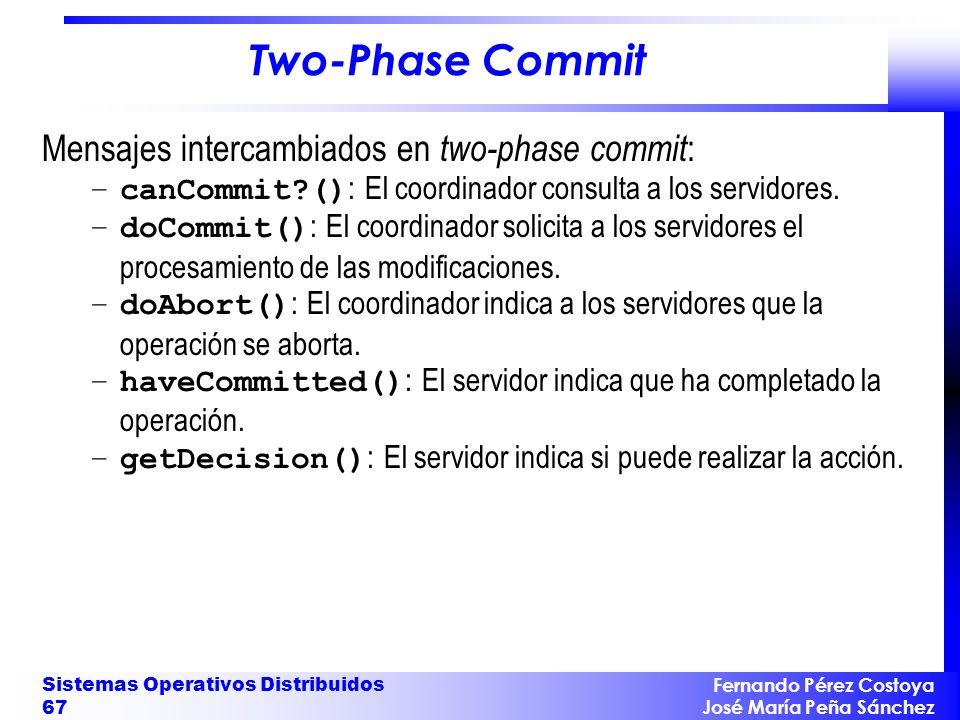 Fernando Pérez Costoya José María Peña Sánchez Sistemas Operativos Distribuidos 67 Two-Phase Commit Mensajes intercambiados en two-phase commit : –can