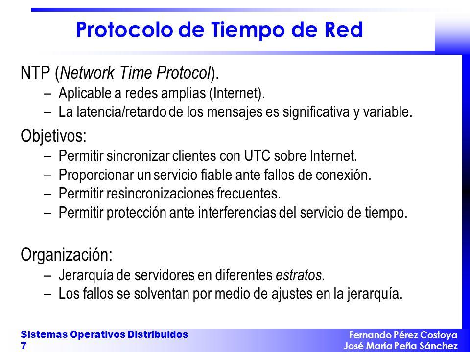 Fernando Pérez Costoya José María Peña Sánchez Sistemas Operativos Distribuidos 8 Protocolo de Tiempo de Red La sincronización entre cada par de elementos de la jerarquía: –Modo multicast: Para redes LAN.