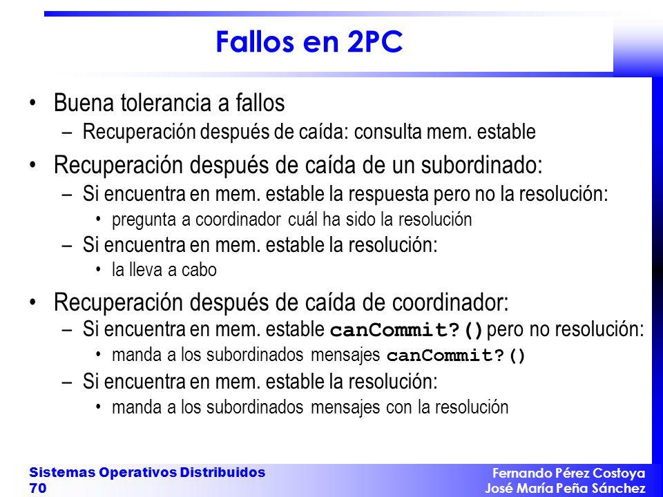 Fernando Pérez Costoya José María Peña Sánchez Sistemas Operativos Distribuidos 70 Fallos en 2PC Buena tolerancia a fallos –Recuperación después de ca