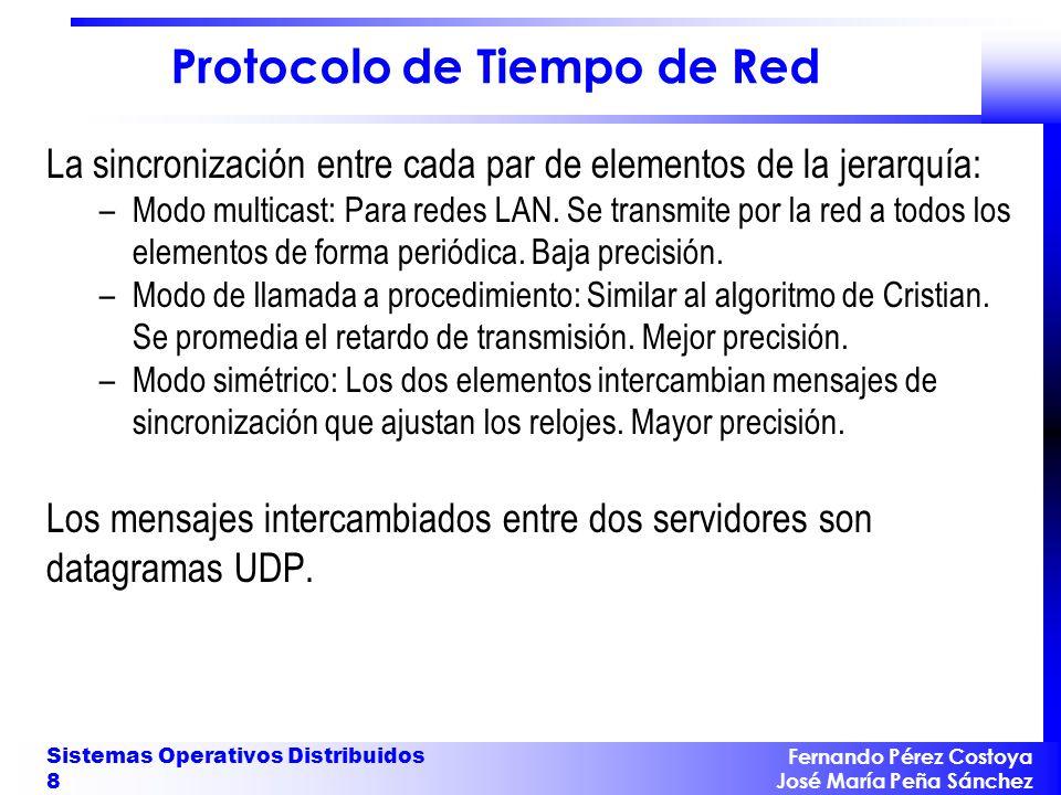 Fernando Pérez Costoya José María Peña Sánchez Sistemas Operativos Distribuidos 39 Exclusión Mutua con Relojes Lógicos Rendimiento: –Ancho de banda: El protocolo consume 2(N-1) mensajes.