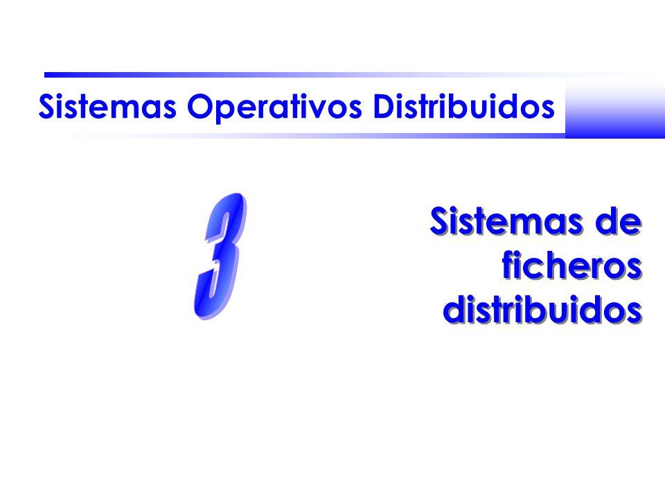 Fernando Pérez Costoya José María Peña Sánchez Sistemas Operativos Distribuidos 32 Protocolo NFS Ofrece RPCs para realizar operaciones sobre ficheros remotos –Búsqueda de un fichero en un directorio (LOOKUP) –Lectura de entradas de directorio –Manipulación de enlaces y directorios –Acceso a los atributos de un fichero –Lectura y escritura de ficheros Servidores NFS no almacenan estado –Operaciones autocontenidas OPEN/CLOSE reemplazados por LOOKUP –traducción iterativa componente a componente LOOKUP( handle de directorio, fichero) handle de fichero El protocolo no ofrece mecanismos de control de concurrencia