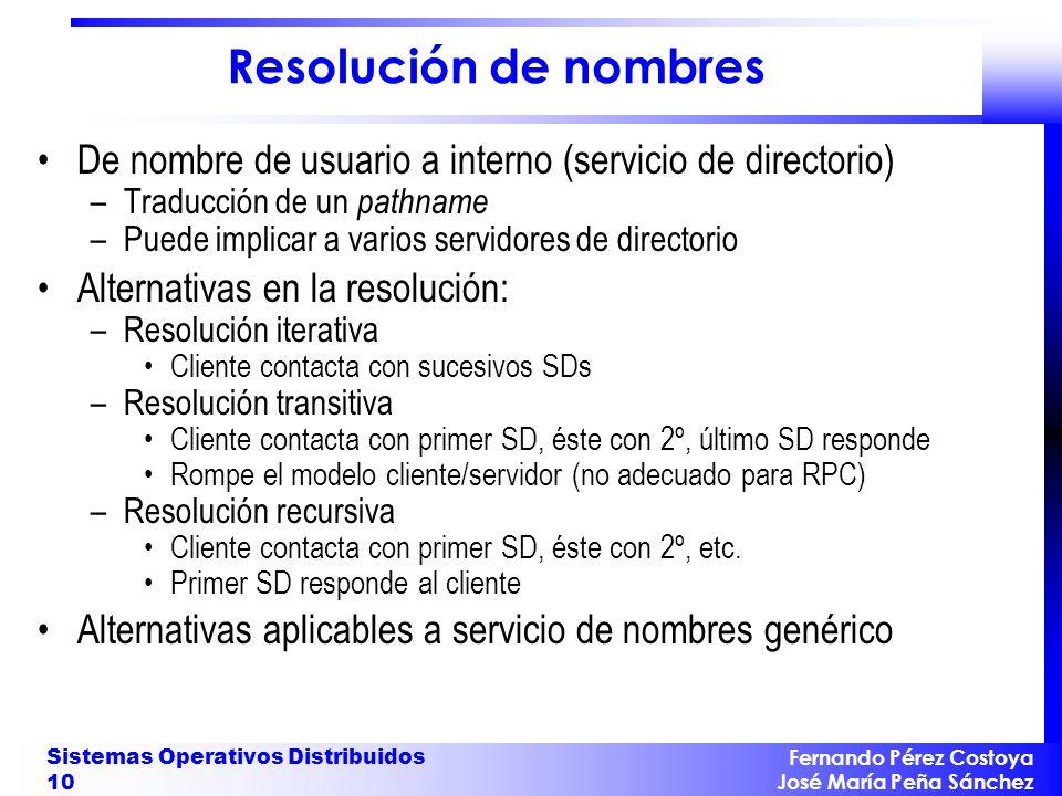 Fernando Pérez Costoya José María Peña Sánchez Sistemas Operativos Distribuidos 10 Resolución de nombres De nombre de usuario a interno (servicio de d