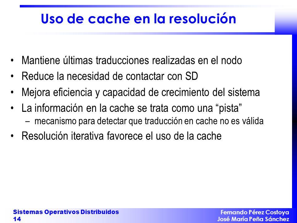 Fernando Pérez Costoya José María Peña Sánchez Sistemas Operativos Distribuidos 14 Uso de cache en la resolución Mantiene últimas traducciones realiza