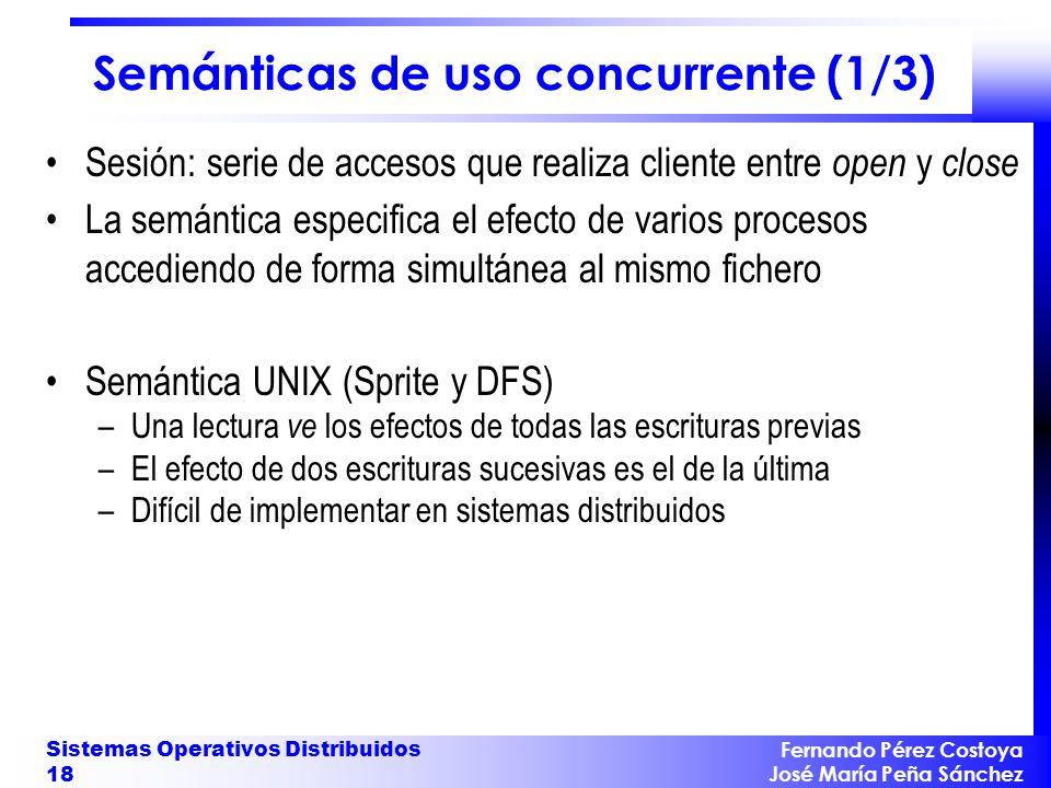 Fernando Pérez Costoya José María Peña Sánchez Sistemas Operativos Distribuidos 18 Semánticas de uso concurrente (1/3) Sesión: serie de accesos que re