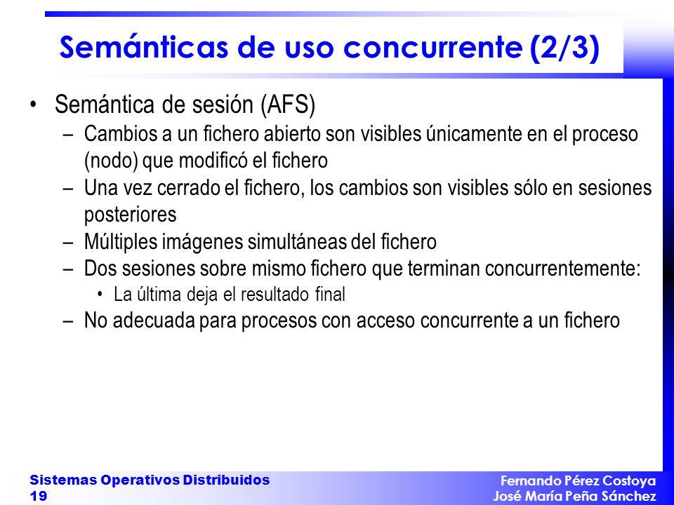 Fernando Pérez Costoya José María Peña Sánchez Sistemas Operativos Distribuidos 19 Semánticas de uso concurrente (2/3) Semántica de sesión (AFS) –Camb