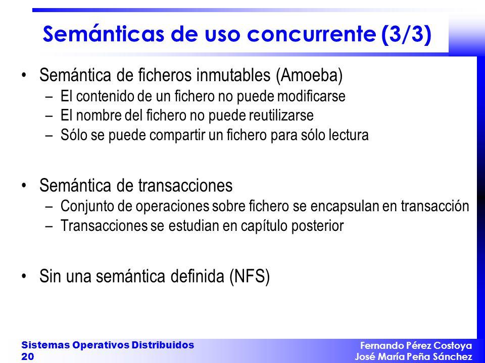 Fernando Pérez Costoya José María Peña Sánchez Sistemas Operativos Distribuidos 20 Semánticas de uso concurrente (3/3) Semántica de ficheros inmutable