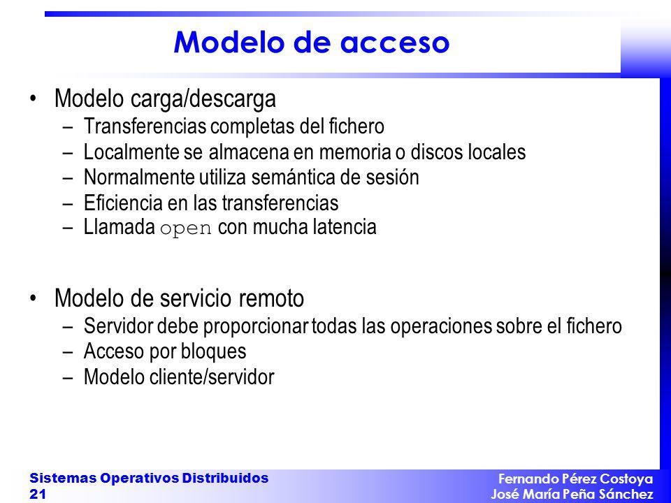 Fernando Pérez Costoya José María Peña Sánchez Sistemas Operativos Distribuidos 21 Modelo de acceso Modelo carga/descarga –Transferencias completas de