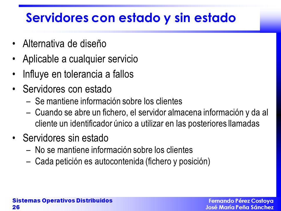 Fernando Pérez Costoya José María Peña Sánchez Sistemas Operativos Distribuidos 26 Servidores con estado y sin estado Alternativa de diseño Aplicable