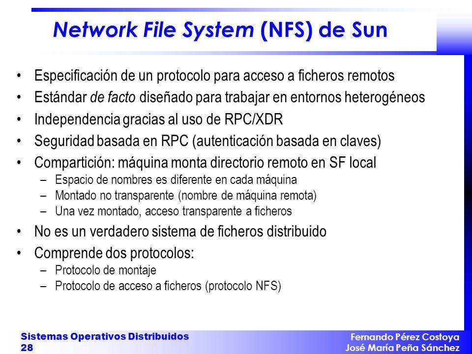 Fernando Pérez Costoya José María Peña Sánchez Sistemas Operativos Distribuidos 28 Network File System (NFS) de Sun Especificación de un protocolo par