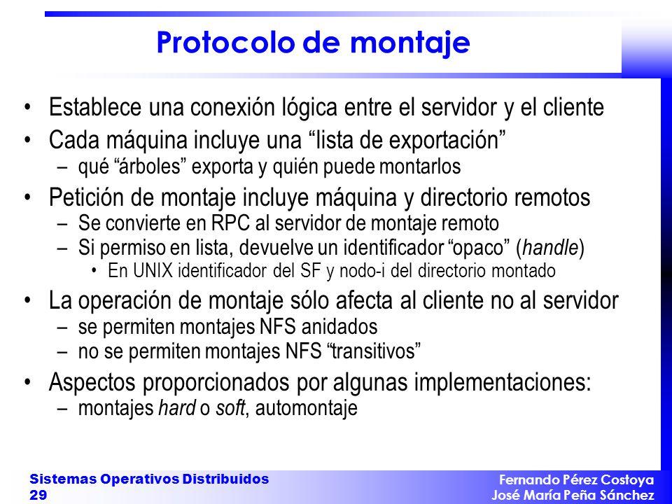 Fernando Pérez Costoya José María Peña Sánchez Sistemas Operativos Distribuidos 29 Protocolo de montaje Establece una conexión lógica entre el servido