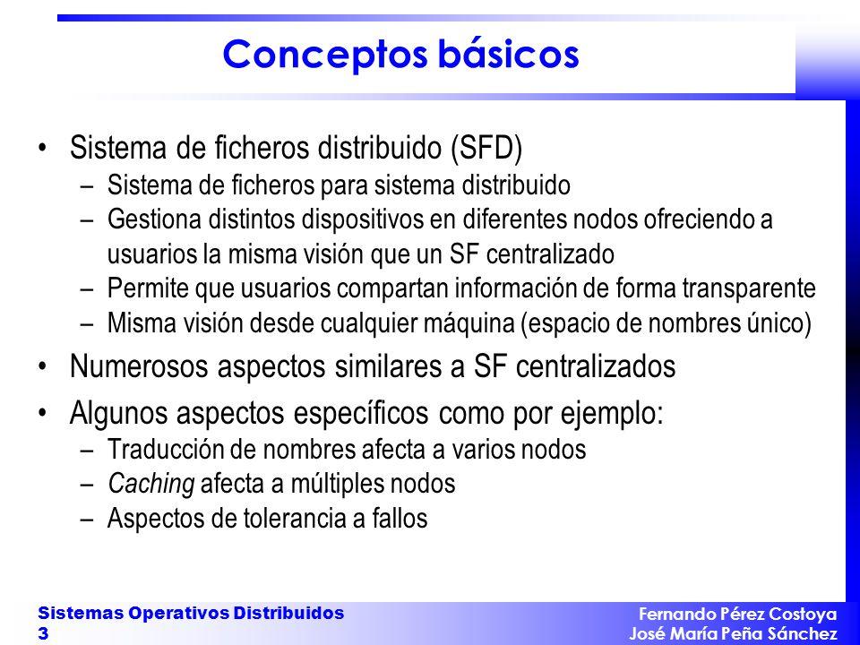 Fernando Pérez Costoya José María Peña Sánchez Sistemas Operativos Distribuidos 3 Conceptos básicos Sistema de ficheros distribuido (SFD) –Sistema de