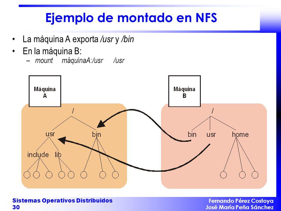 Fernando Pérez Costoya José María Peña Sánchez Sistemas Operativos Distribuidos 30 Ejemplo de montado en NFS La máquina A exporta /usr y /bin En la má