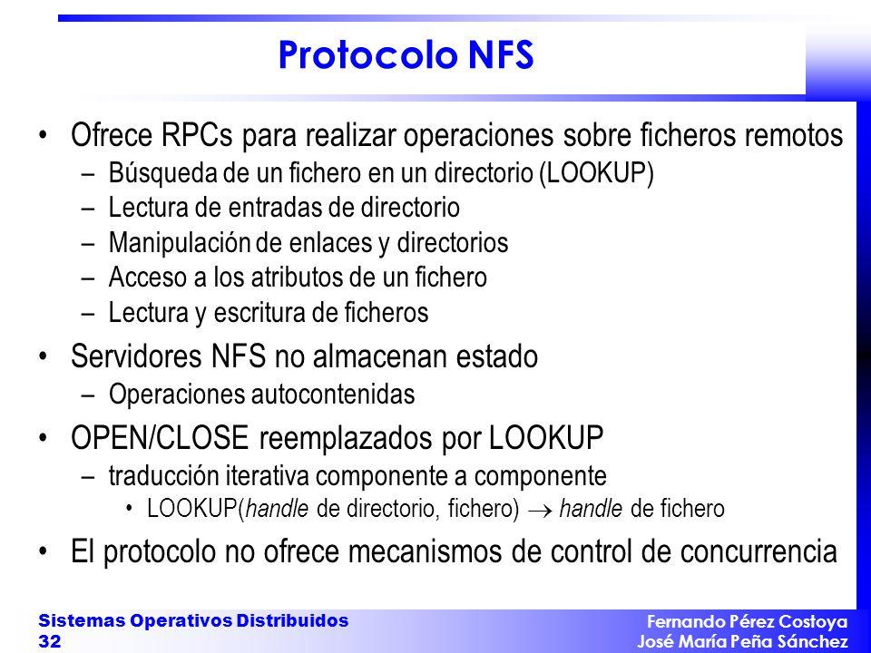 Fernando Pérez Costoya José María Peña Sánchez Sistemas Operativos Distribuidos 32 Protocolo NFS Ofrece RPCs para realizar operaciones sobre ficheros