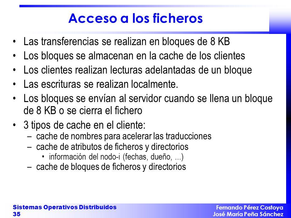 Fernando Pérez Costoya José María Peña Sánchez Sistemas Operativos Distribuidos 35 Acceso a los ficheros Las transferencias se realizan en bloques de