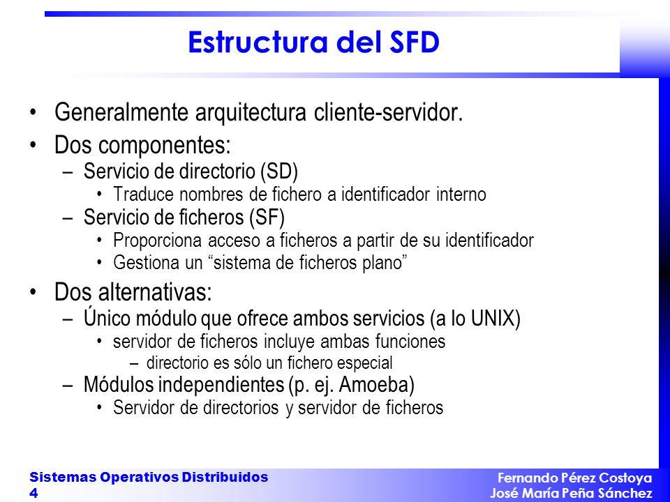 Fernando Pérez Costoya José María Peña Sánchez Sistemas Operativos Distribuidos 4 Estructura del SFD Generalmente arquitectura cliente-servidor. Dos c