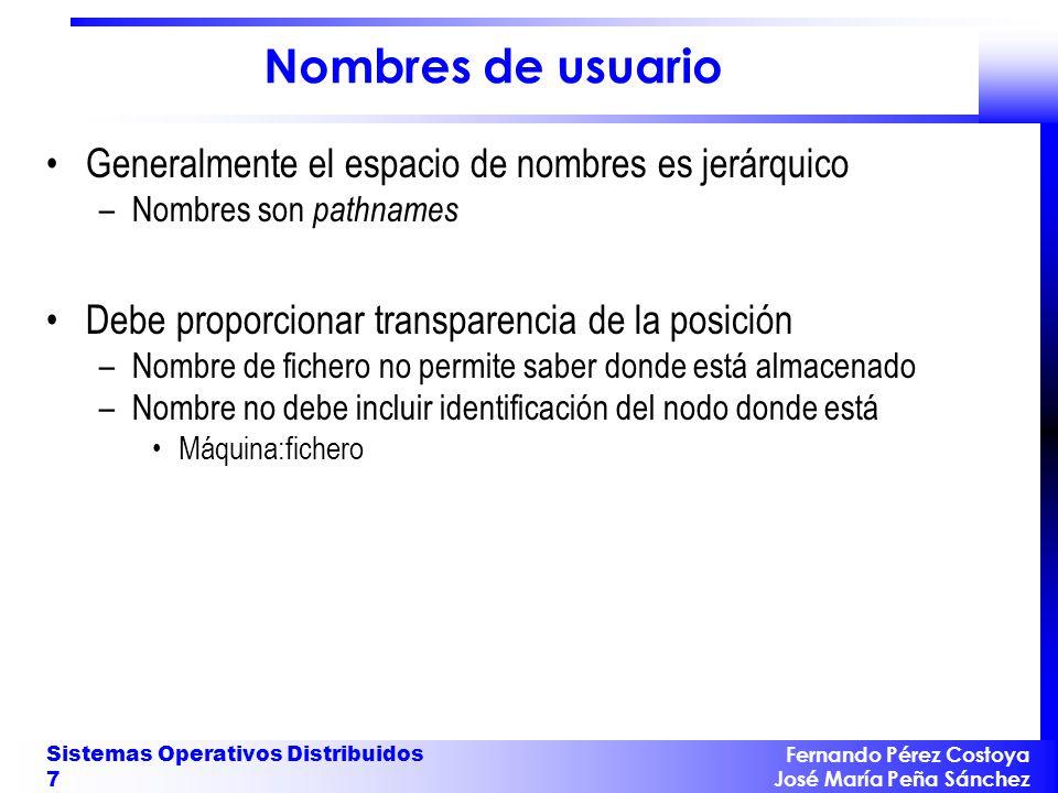 Fernando Pérez Costoya José María Peña Sánchez Sistemas Operativos Distribuidos 7 Nombres de usuario Generalmente el espacio de nombres es jerárquico
