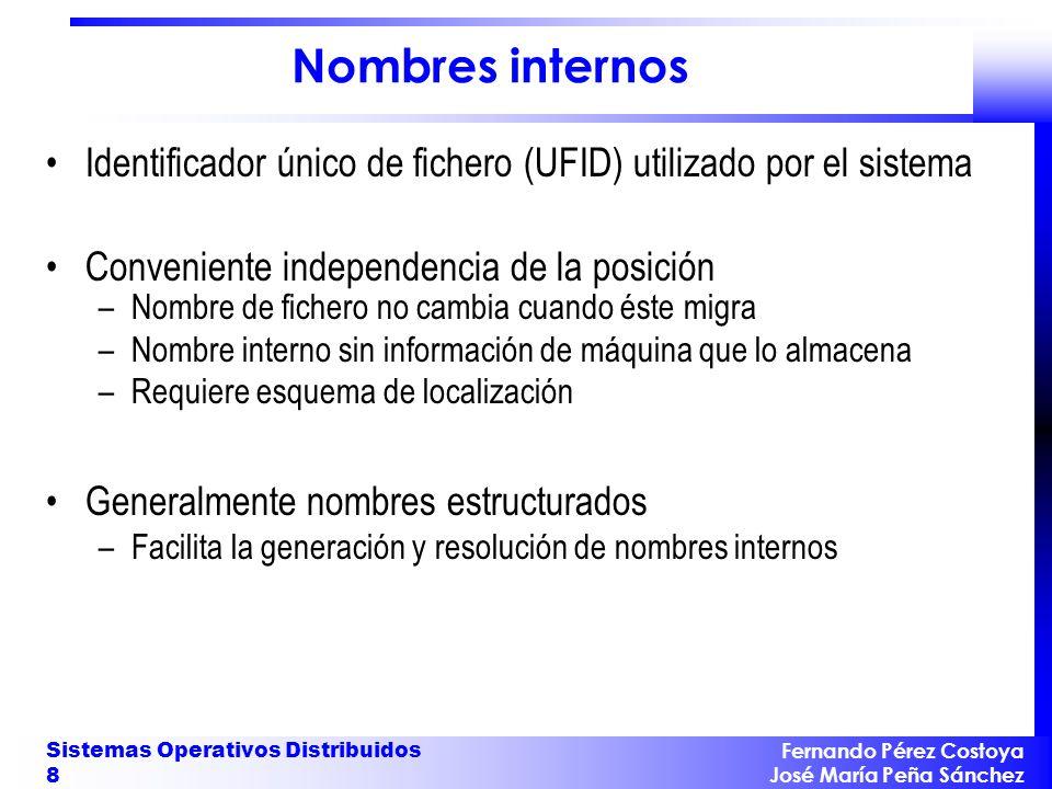 Fernando Pérez Costoya José María Peña Sánchez Sistemas Operativos Distribuidos 8 Nombres internos Identificador único de fichero (UFID) utilizado por