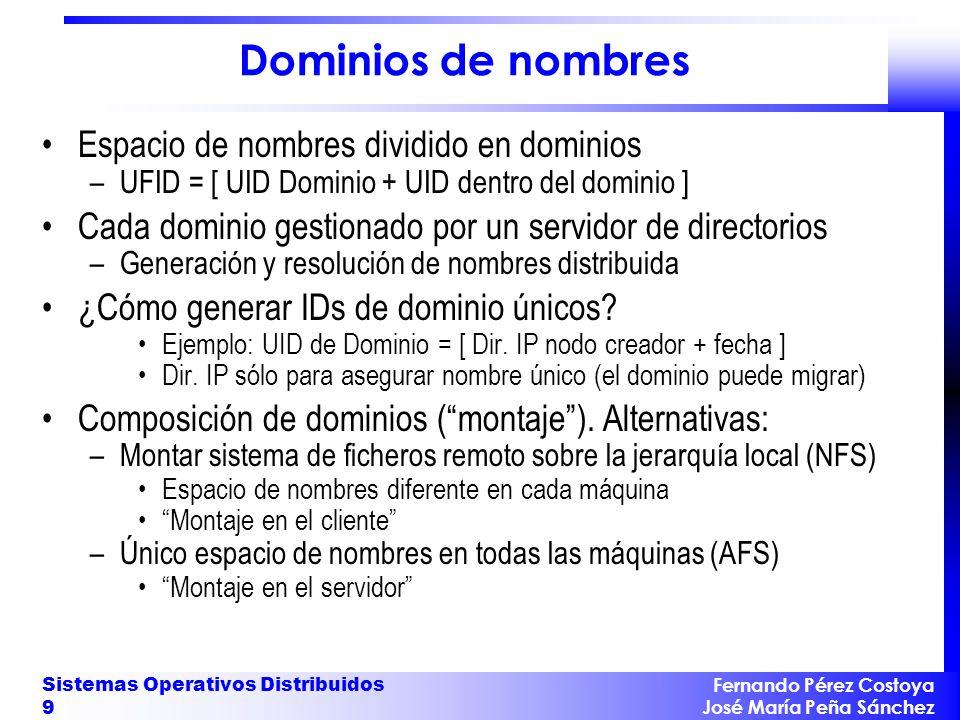 Fernando Pérez Costoya José María Peña Sánchez Sistemas Operativos Distribuidos 9 Dominios de nombres Espacio de nombres dividido en dominios –UFID =