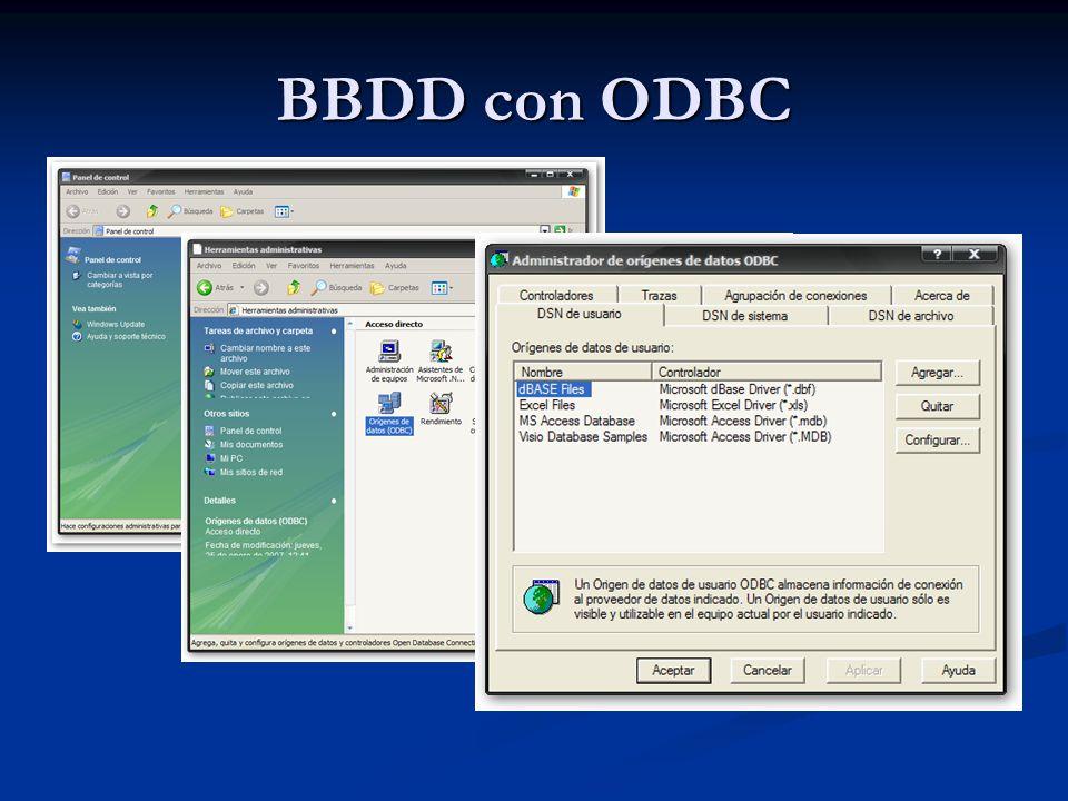 Acceso a BBDD Ejemplo 15: Consulta a Base de Datos Ejemplo 15: Consulta a Base de Datos Realizar una página Web que acceda la base de datos clase.mdb, a la que habremos dado como DSN el nombre de clase .