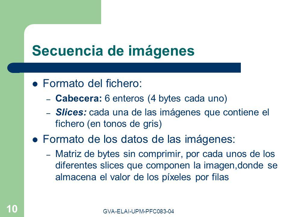 GVA-ELAI-UPM-PFC083-04 10 Secuencia de imágenes Formato del fichero: – Cabecera: 6 enteros (4 bytes cada uno) – Slices: cada una de las imágenes que c
