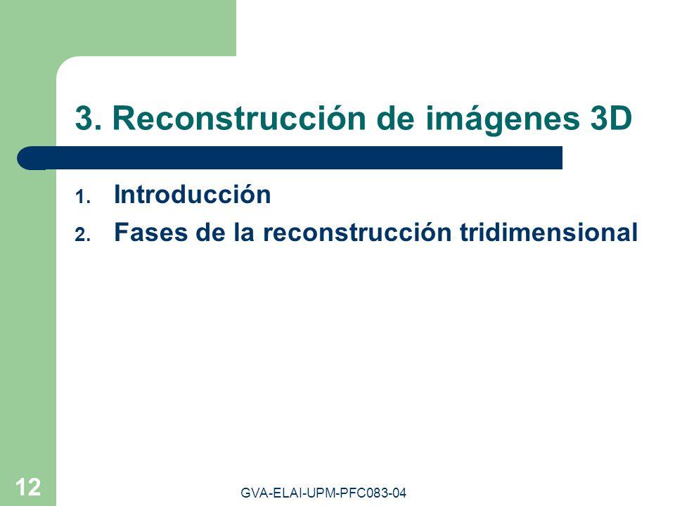 GVA-ELAI-UPM-PFC083-04 12 3. Reconstrucción de imágenes 3D 1. Introducción 2. Fases de la reconstrucción tridimensional