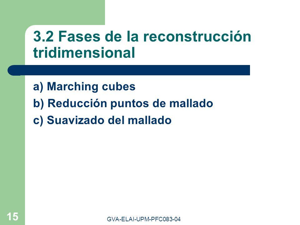 GVA-ELAI-UPM-PFC083-04 15 3.2 Fases de la reconstrucción tridimensional a) Marching cubes b) Reducción puntos de mallado c) Suavizado del mallado