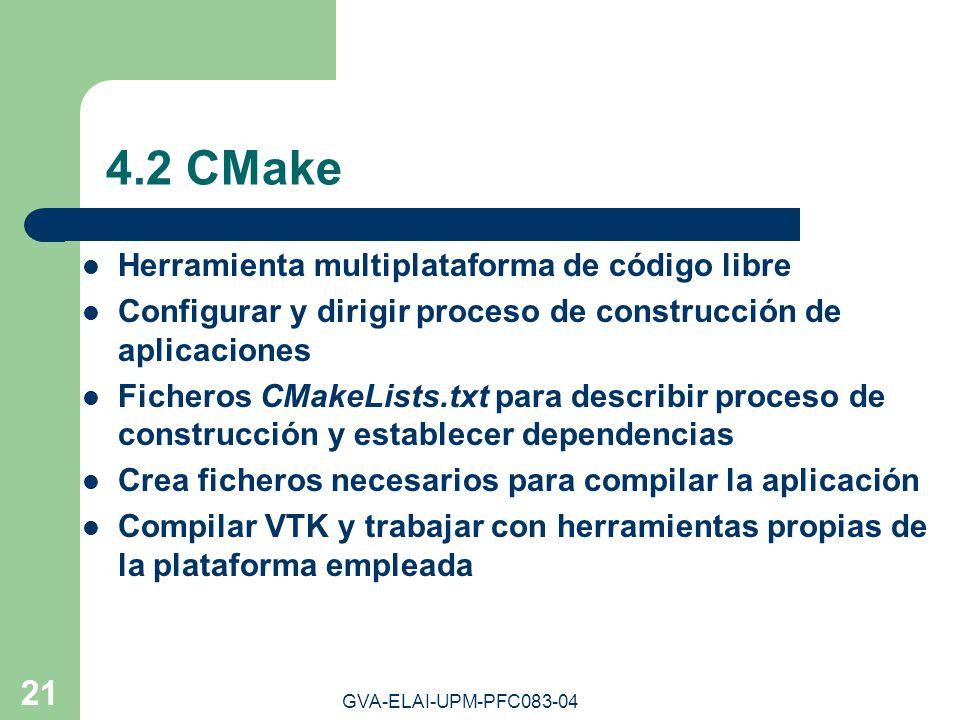 GVA-ELAI-UPM-PFC083-04 21 4.2 CMake Herramienta multiplataforma de código libre Configurar y dirigir proceso de construcción de aplicaciones Ficheros