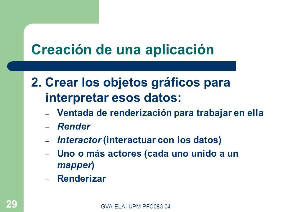 GVA-ELAI-UPM-PFC083-04 29 Creación de una aplicación 2. Crear los objetos gráficos para interpretar esos datos: – Ventada de renderización para trabaj