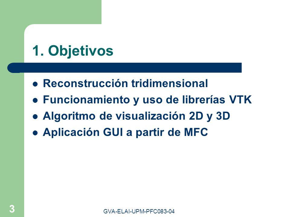 GVA-ELAI-UPM-PFC083-04 3 1. Objetivos Reconstrucción tridimensional Funcionamiento y uso de librerías VTK Algoritmo de visualización 2D y 3D Aplicació