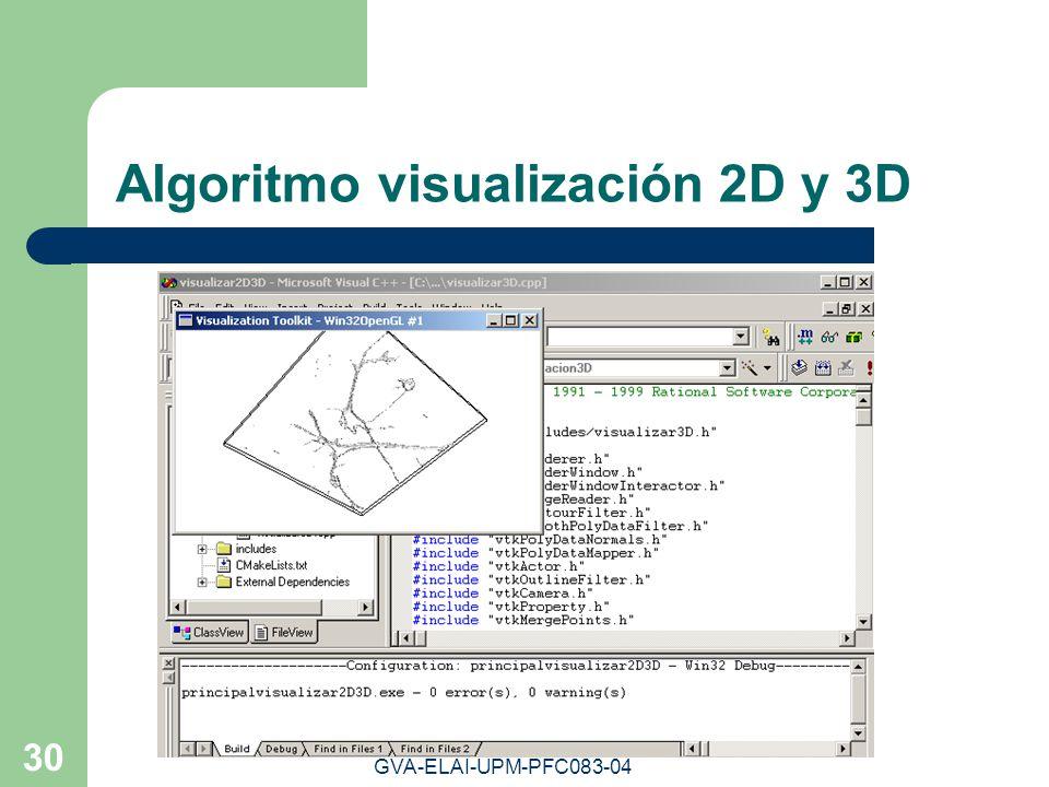 GVA-ELAI-UPM-PFC083-04 30 Algoritmo visualización 2D y 3D