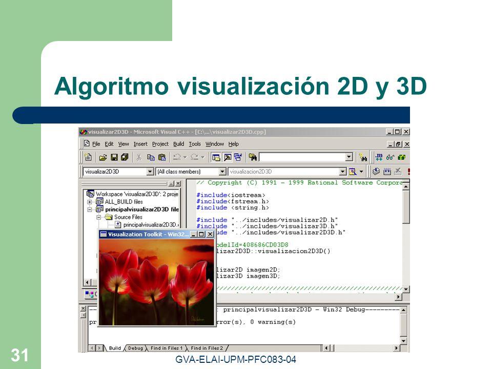 GVA-ELAI-UPM-PFC083-04 31 Algoritmo visualización 2D y 3D