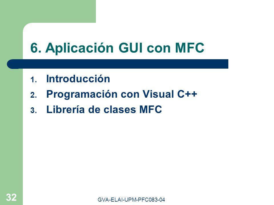 GVA-ELAI-UPM-PFC083-04 32 6. Aplicación GUI con MFC 1. Introducción 2. Programación con Visual C++ 3. Librería de clases MFC