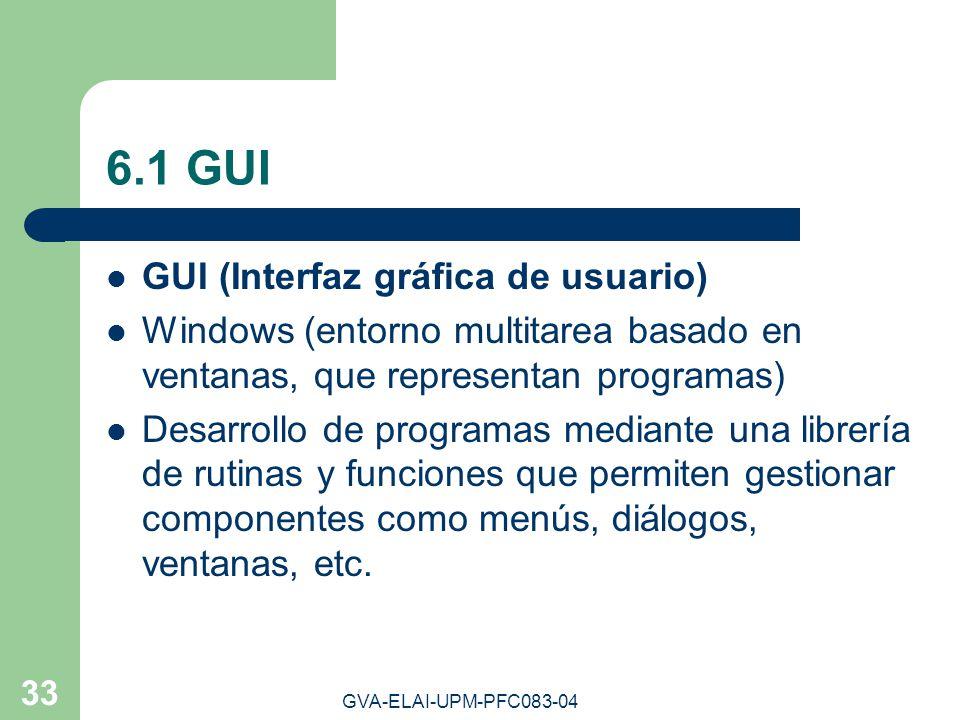 GVA-ELAI-UPM-PFC083-04 33 6.1 GUI GUI (Interfaz gráfica de usuario) Windows (entorno multitarea basado en ventanas, que representan programas) Desarro