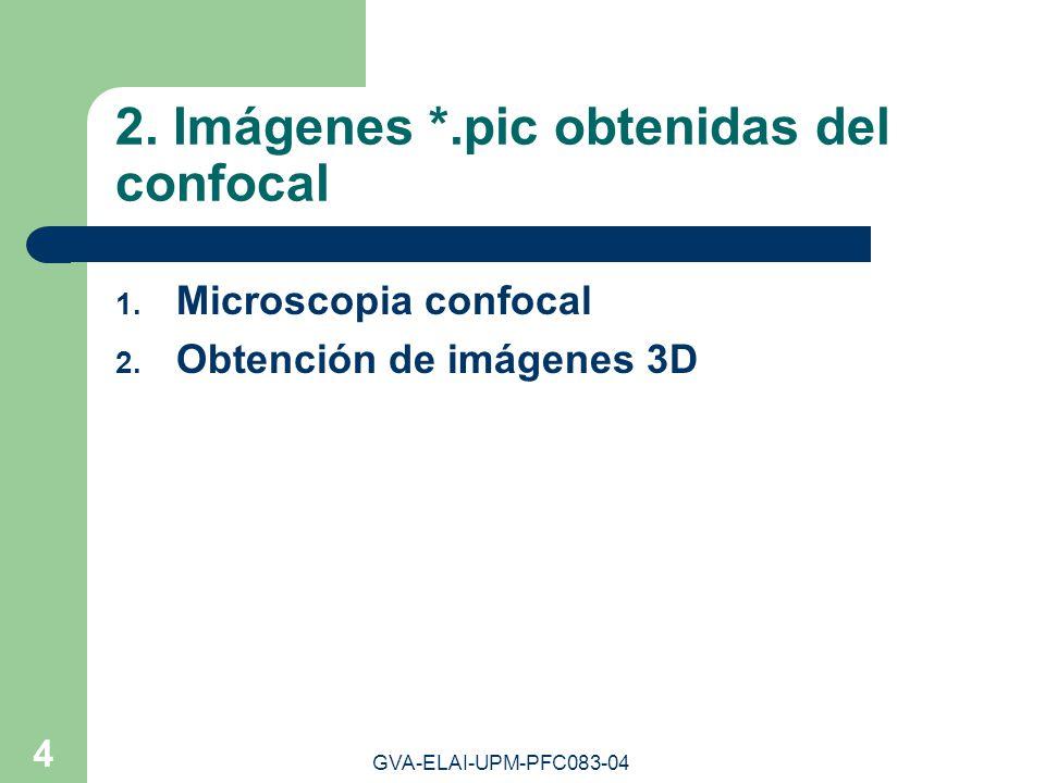 GVA-ELAI-UPM-PFC083-04 4 2. Imágenes *.pic obtenidas del confocal 1. Microscopia confocal 2. Obtención de imágenes 3D