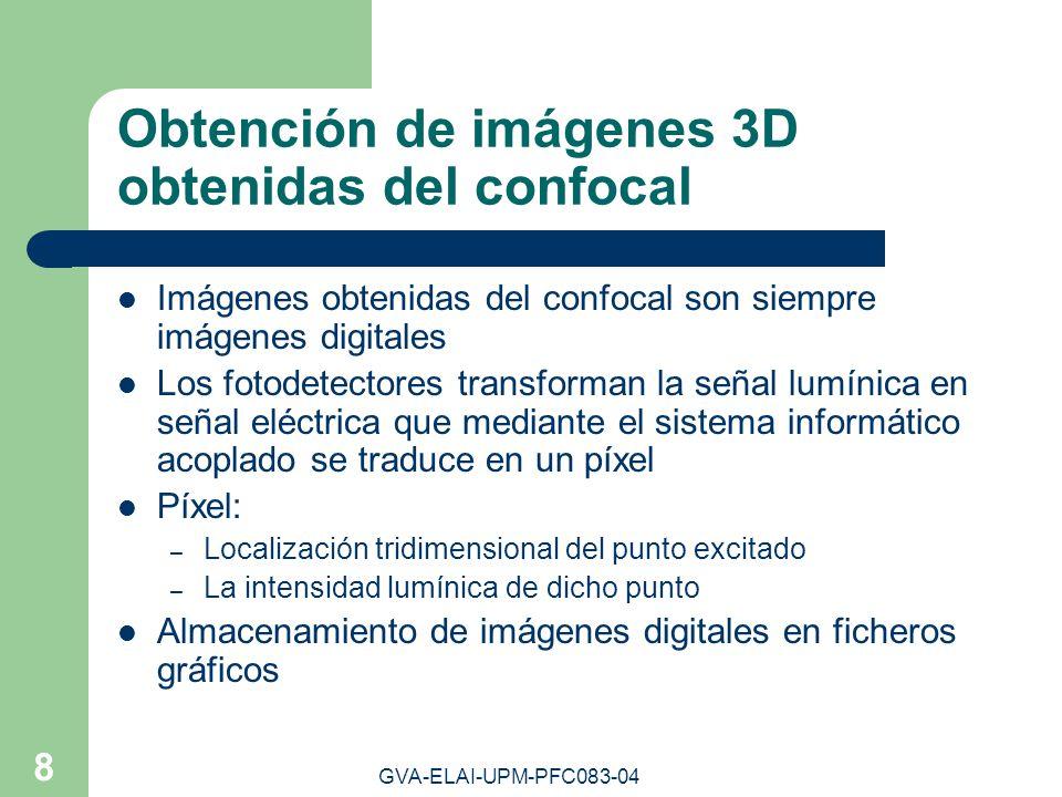 GVA-ELAI-UPM-PFC083-04 8 Obtención de imágenes 3D obtenidas del confocal Imágenes obtenidas del confocal son siempre imágenes digitales Los fotodetect