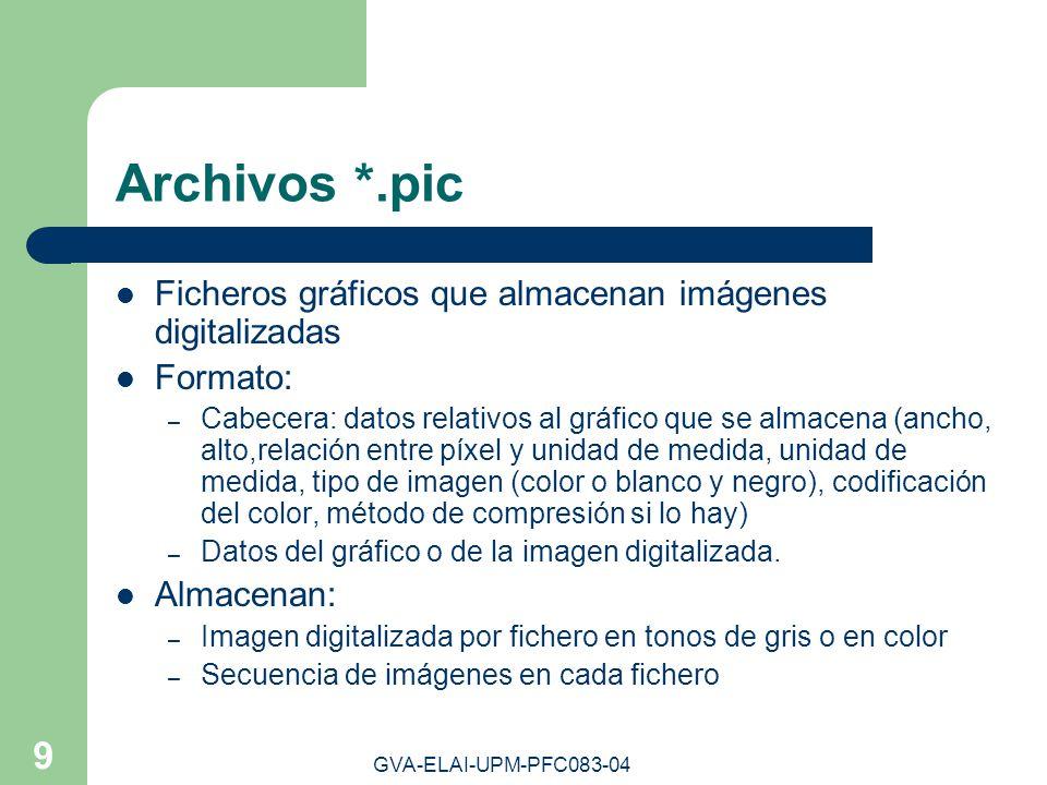 GVA-ELAI-UPM-PFC083-04 9 Archivos *.pic Ficheros gráficos que almacenan imágenes digitalizadas Formato: – Cabecera: datos relativos al gráfico que se