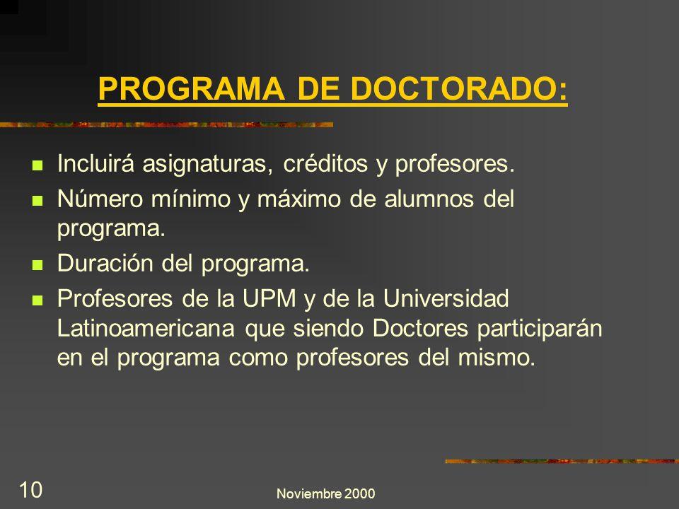 Noviembre 2000 10 Incluirá asignaturas, créditos y profesores. Número mínimo y máximo de alumnos del programa. Duración del programa. Profesores de la