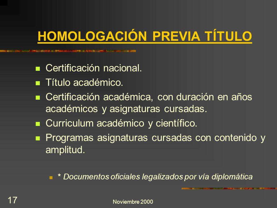 Noviembre 2000 17 HOMOLOGACIÓN PREVIA TÍTULO Certificación nacional. Título académico. Certificación académica, con duración en años académicos y asig