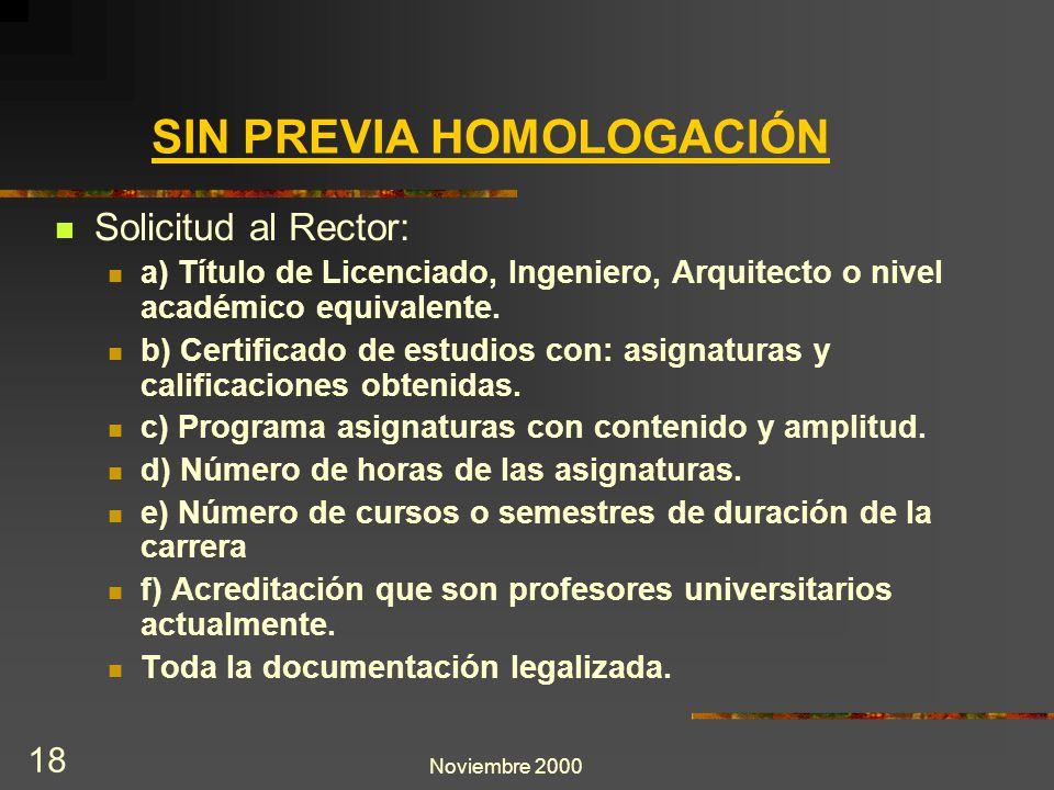 Noviembre 2000 18 SIN PREVIA HOMOLOGACIÓN Solicitud al Rector: a) Título de Licenciado, Ingeniero, Arquitecto o nivel académico equivalente. b) Certif