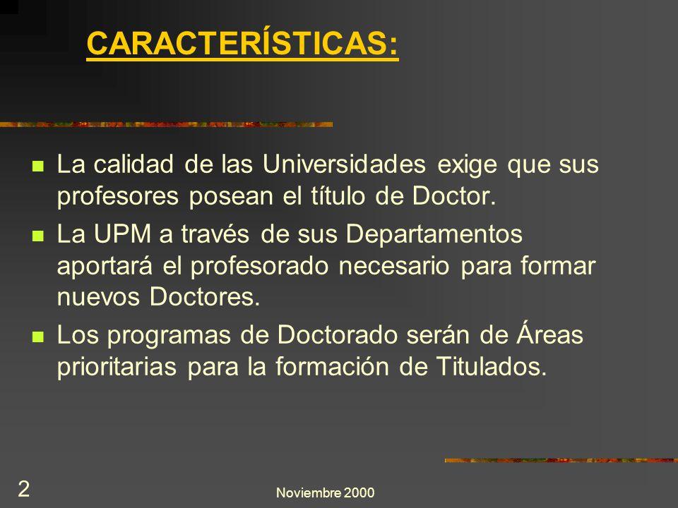 Noviembre 2000 2 La calidad de las Universidades exige que sus profesores posean el título de Doctor. La UPM a través de sus Departamentos aportará el