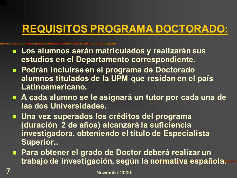 Noviembre 2000 7 REQUISITOS PROGRAMA DOCTORADO: Los alumnos serán matriculados y realizarán sus estudios en el Departamento correspondiente. Podrán in