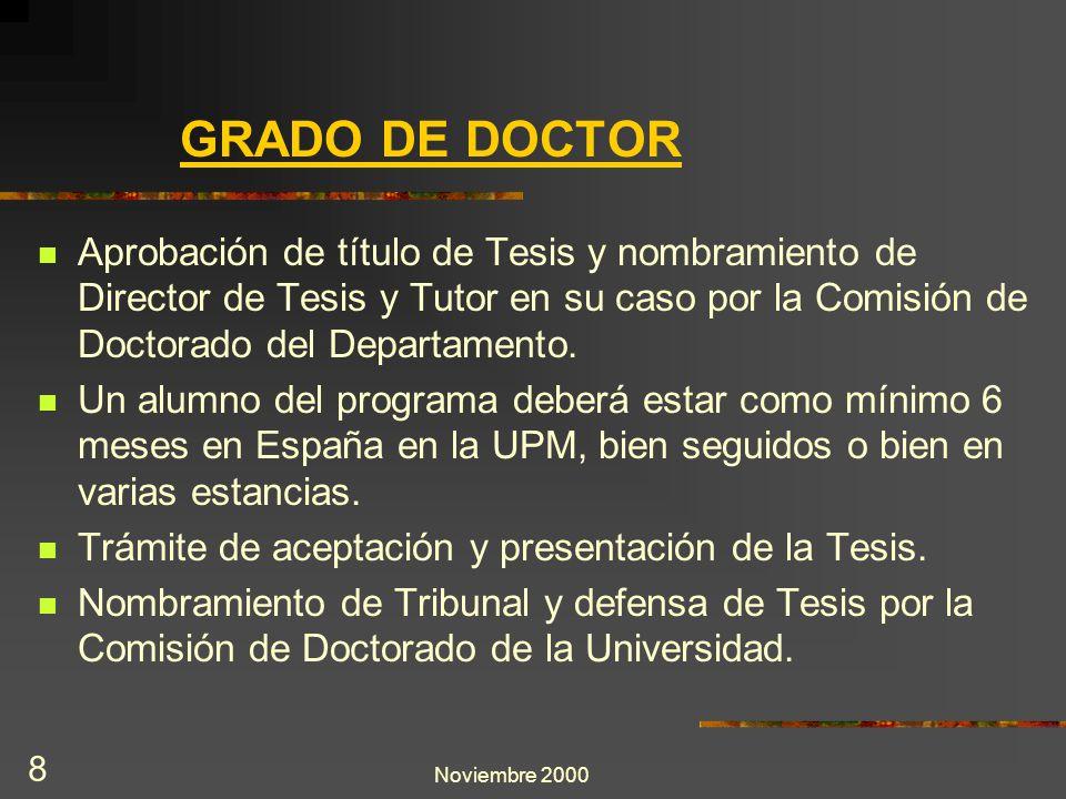 Noviembre 2000 8 GRADO DE DOCTOR Aprobación de título de Tesis y nombramiento de Director de Tesis y Tutor en su caso por la Comisión de Doctorado del