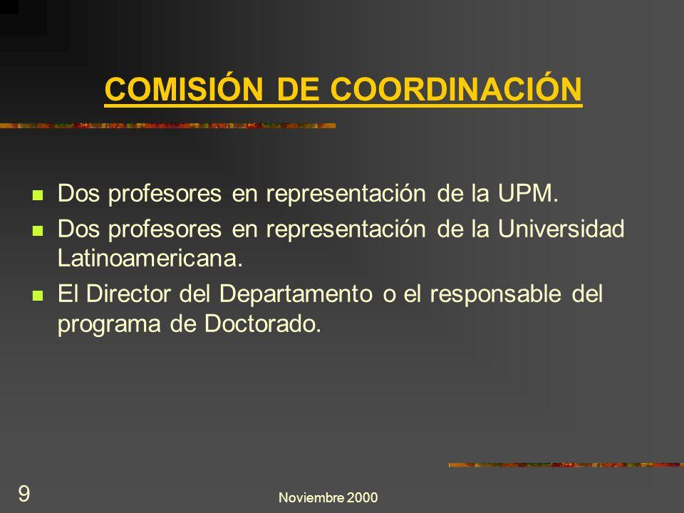 Noviembre 2000 9 Dos profesores en representación de la UPM. Dos profesores en representación de la Universidad Latinoamericana. El Director del Depar